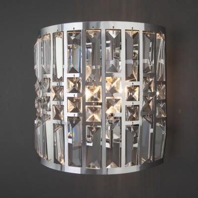 Настенный светильник с хрусталем 10116/2 хром/прозрачный хрусталь Strotskis