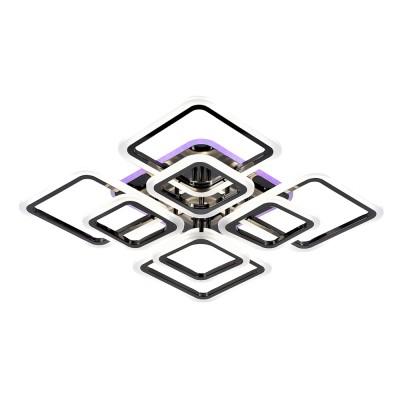 Светодиодная люстра регулируемая с подсветкой 8075/4+4 PBK ( Черный глянец)